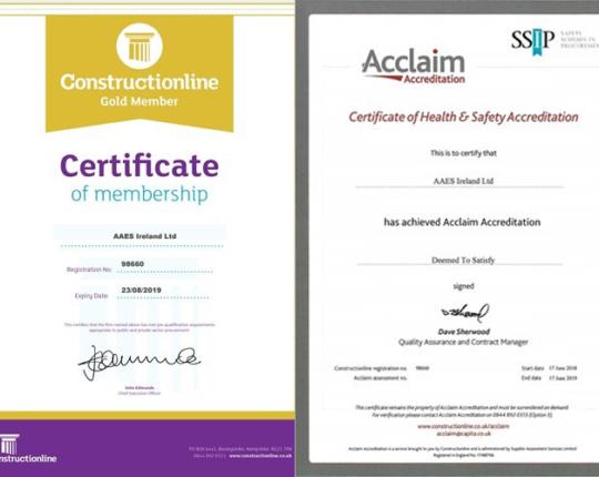 AAES Ireland Ltd achieve Gold level Constructionline Membership and Acclaim Accreditation